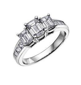 Three Stone (1.00ct) Diamond Ring 18K White Gold