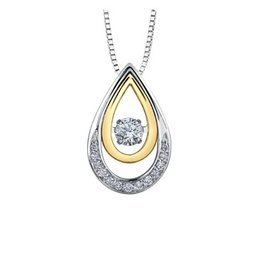 I am Canadian White & Yellow Gold (0.21ct) Canadian Dancing Diamond Pendant