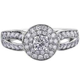 Double Halo (1.00ct) 150 Cut Canadian Diamond White Gold Ring
