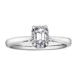 Emerald Shaped (0.36ct) Halo Diamond Ring White Gold