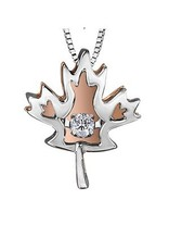 I am Canadian Silver & Rose Gold (0.03ct) Dancing Canadian Pendant