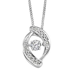 White Gold (0.10ct) Dancing Canadian Diamond Pendant