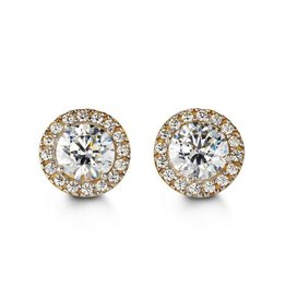Halo CZ Yellow Gold Earrings