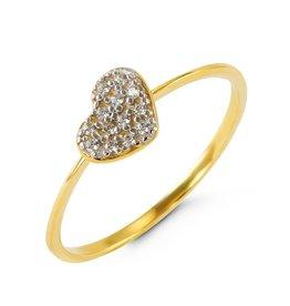 Heart Pavee CZ Pendant Yellow Gold