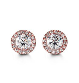 Halo CZ Rose Gold Earrings
