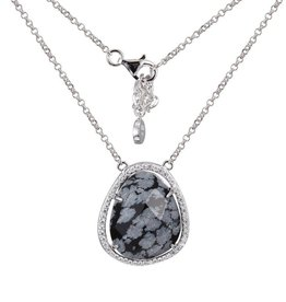 Elle Genuine Snowflake Obsidian Halo Sterling Silver Necklace