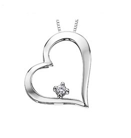 White Gold (0.05ct) Canadian Diamond Heart Pendant