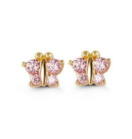 Butterfly Screwback Baby Earrings Pink CZ 14K Yellow Gold