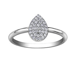 Pear Shaped Pavee (0.15ct) Diamond White Gold Ring