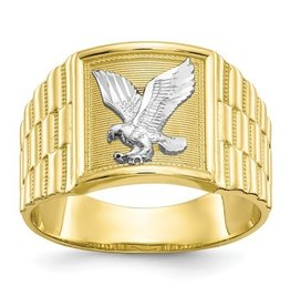 10k and Rhodium Men's Eagle Ring