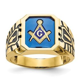 10k Blue Acrylic Men's Masonic Ring
