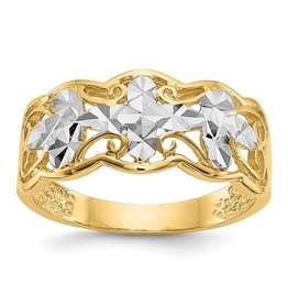 Diamond Cut Wave Ring