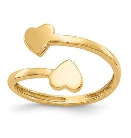 14K Double Heart Toe Ring