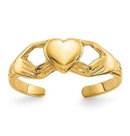 14K Polished Claddagh Toe Ring