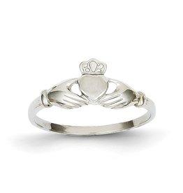 14K Polished & Satin Claddagh Ring