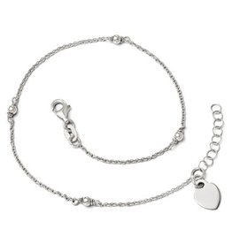 "Adjustable Dangle Heart Anklet (9-10"")"