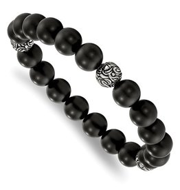 Stainless Steel Antiqued And Polished With Blk Agate Beads