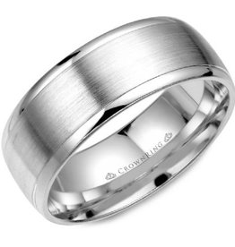 White Gold Brushed Centre Band (8mm)