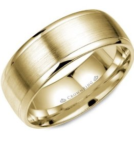 Yellow Gold Brushed Centre Band (8mm)
