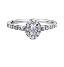 White Gold Diamond Marquise Shaped Halo Ring (0.33ct)
