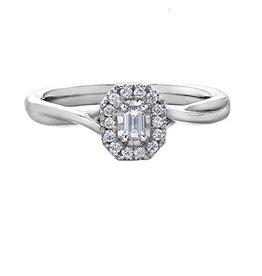 Emerald Shaped (0.20ct) Halo Diamond Ring White Gold