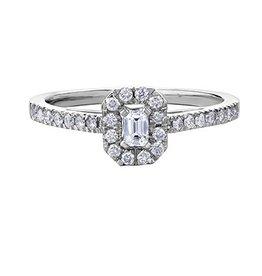 White Gold Diamond Emerald Shaped Halo Ring (0.33ct)