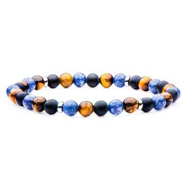 Inox Matte Black Agate, Blue Coral, Tiger Eye, Stainless Steel Beaded Stretch Bracelet
