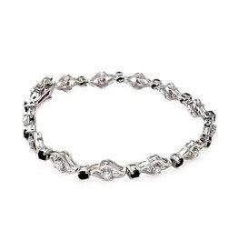 Sterling Silver 925 Open Link Black CZ Bracelet