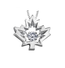 I am Canadian White Gold (0.04ct) Maple Leaf Canadian Dancing Diamond Pendant