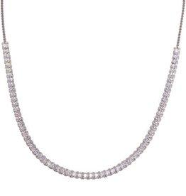 Sterling Silver Rhodium Plated Adjustable Leaf Link CZ Necklace