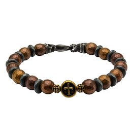 Inox Men's Brown and Black Beads in Cross and Skull Bracelet with Lobster Clasp.