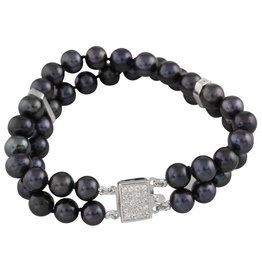 Freshwater Black Pearl and Cubic Zirconia Bracelet