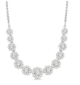 Cluster (2.00ct) White Gold Necklace