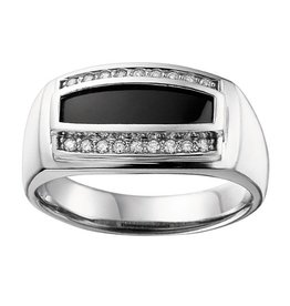 Onyx & Diamonds (0.20ct) White Gold