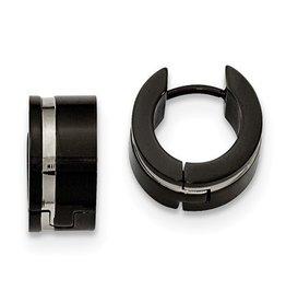 Steel Black IP Hoop Earrings