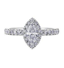 Marquise Shaped (0.45ct) Halo Diamond Ring