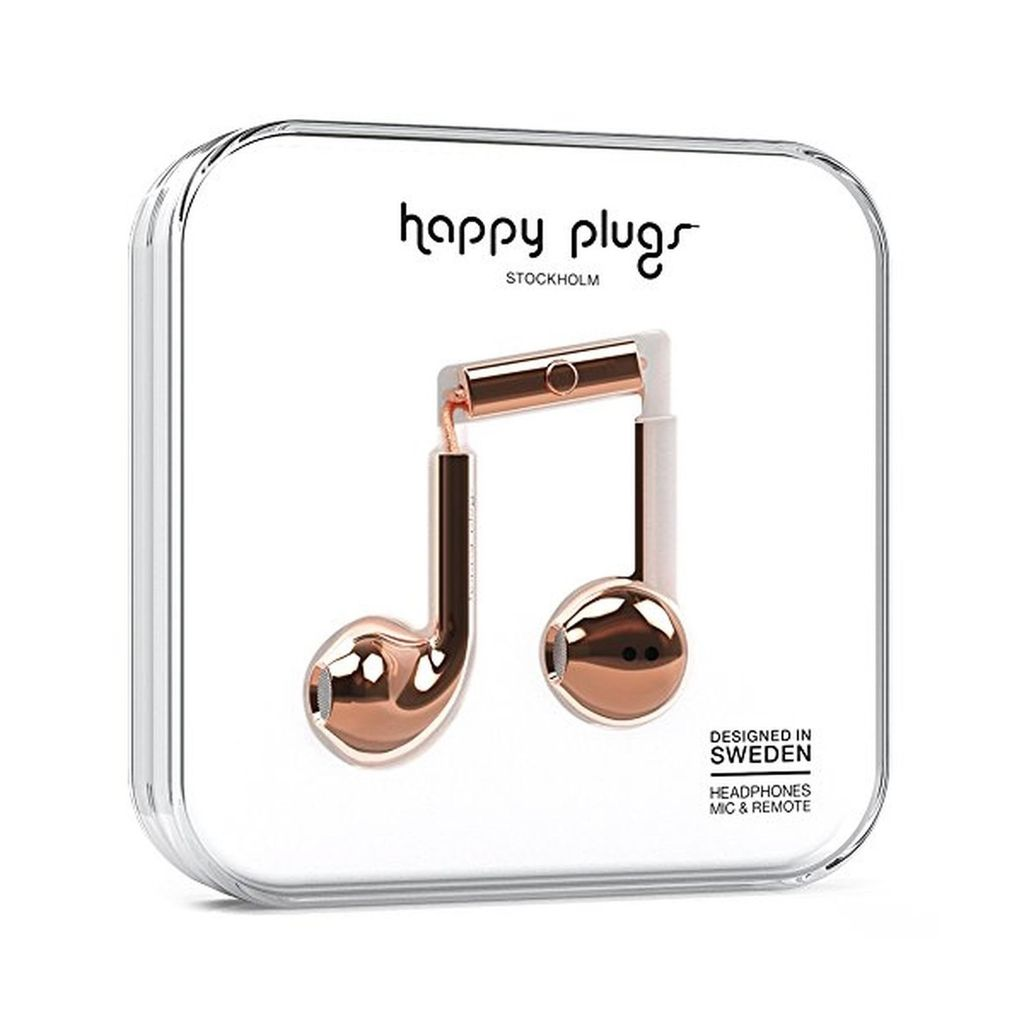 Happy Plugs Happy Plugs Deluxe Earbud Plus with Remote & Mic - Metallic Rose Gold