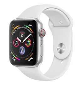 Apple AppleWatch Series4 GPS+Cellular, 44mm Silver Aluminium Case with White Sport Band