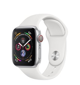 Apple AppleWatch Series4 GPS+Cellular, 40mm Silver Aluminium Case with White Sport Band