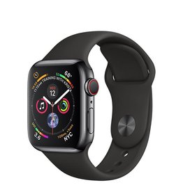 Apple AppleWatch Series4 GPS+Cellular, 40mm Space Black Stainless Steel Case with Black Sport Band