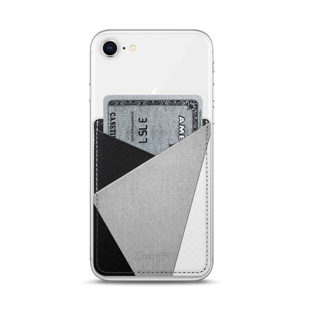 Casetify Casetify Saffiano Leather Card Pocket - Black / White / Grey