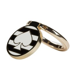 kate spade new york kate spade Universal Ring Stand - Spade Striped Black/White/Gold Enamel