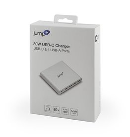 Jump Jump+ USB-C 80W Power Adapter with USB-C and 4 USB-3.0 Charge Ports