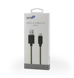 Jump Jump+ USB 3.0 to USB-C 1m Braided Cable - Black / Gold