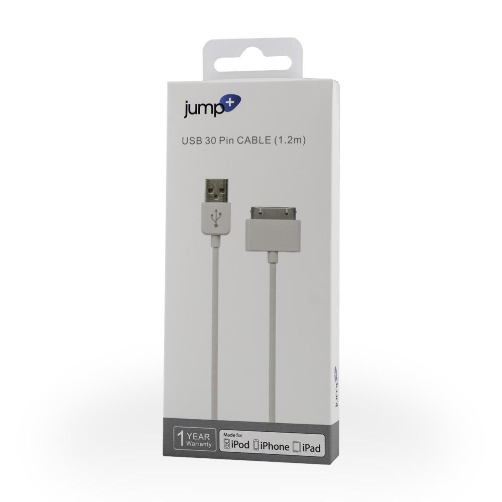 Jump Jump+ USB to 30 Pin Dock Connector Cable 1.2m White