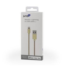Jump Jump+ USB to Lightning Cable 1m Braided - Gold