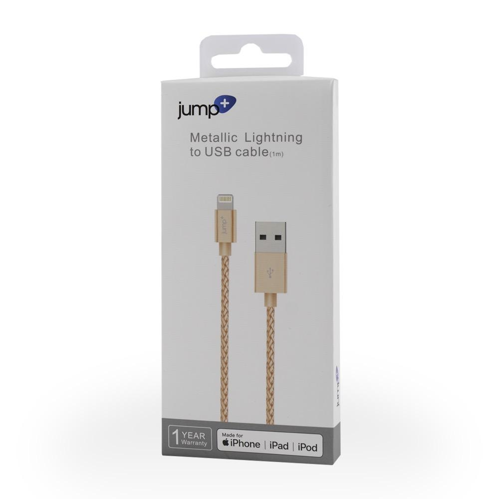 Jump Jump+ USB to Lightning Cable 1m Braided - Rose Gold