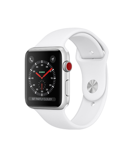 Apple Apple Watch Series 3 GPS + Cellular, 38mm Silver Aluminium Case with White Sport Band