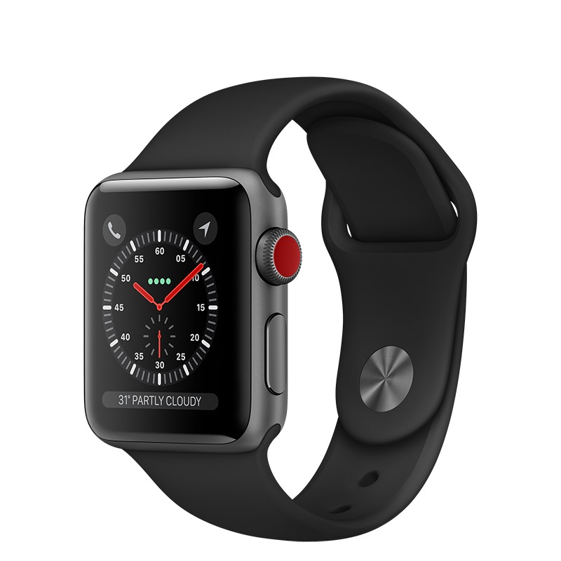 Apple Apple Watch Series 3 GPS + Cellular, 42mm Space Grey Aluminium Case with Black Sport Band
