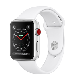 Apple AppleWatch Series3 GPS+Cellular, 42mm Silver Aluminium Case with White Sport Band